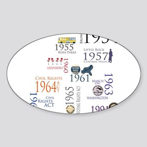 Civil Rights Timeline Oval Sticker