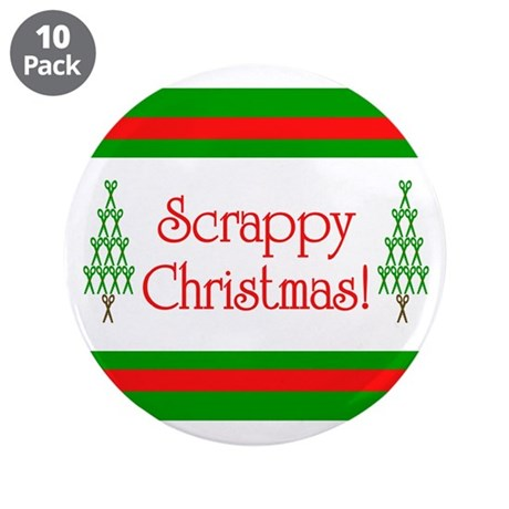 """Scrappy Christmas 3.5"""" Button (10 pack)"""