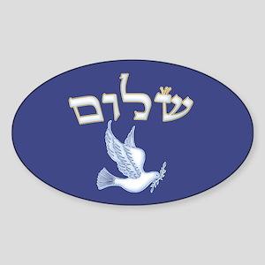 Shalom w/Dove /Bg (Hebrew) Oval Sticker