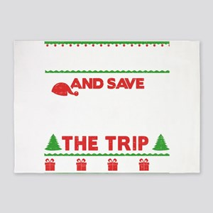 Let's be naughty and save Santa 5'x7'Area Rug