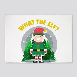 """""""What the Elf?"""" Funny Chr 5'x7'Area Rug"""