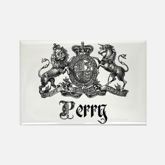 Perry Vintage Family Name Crest Rectangle Magnet