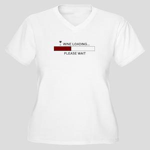 WINE LOADING... Women's Plus Size V-Neck T-Shirt