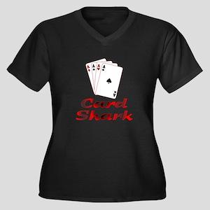 Card Shark Women's Plus Size V-Neck Dark T-Shirt