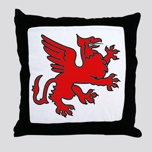 Red Griffin Throw Pillow