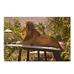 Lion on a Car Postcards (Package of 8)