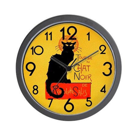 Chat Noir Black Cat Wall Clock