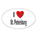 I Love St. Petersburg Oval Sticker (10 pk)