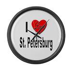 I Love St. Petersburg Large Wall Clock