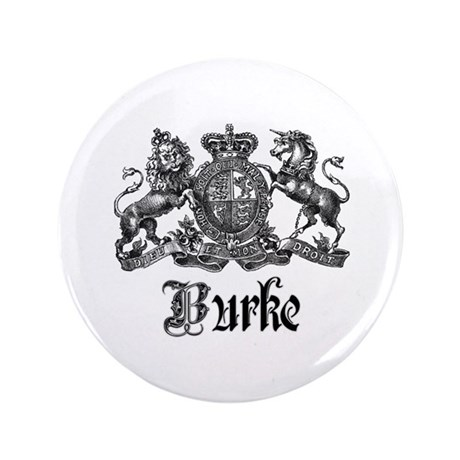 "Burke Vintage Family Name Crest 3.5"" Button"