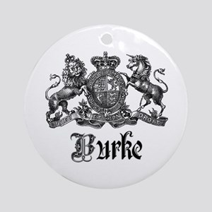 Burke Vintage Family Name Crest Ornament (Round)