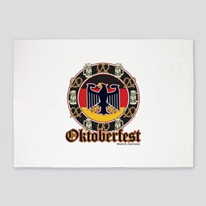 Oktoberfest Beer and Pretzels 5'x7'Area Rug