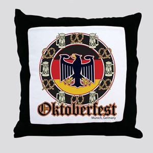 Oktoberfest Beer and Pretzels Throw Pillow