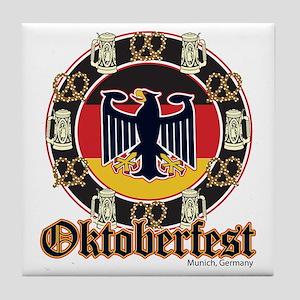 Oktoberfest Beer and Pretzels Tile Coaster
