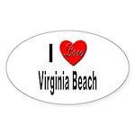 I Love Virginia Beach Oval Sticker (10 pk)