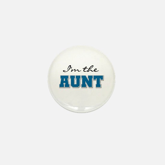Blue I'm the Aunt Mini Button