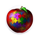 "Puzzle Apple 3.5"" Button (100 pack)"