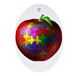 Puzzle Apple Oval Ornament