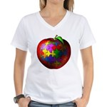 Puzzle Apple Women's V-Neck T-Shirt