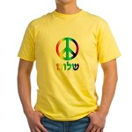 Shalom - Peace Sign Yellow T-Shirt