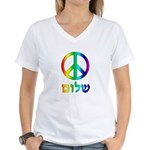Shalom - Peace Sign Women's V-Neck T-Shirt