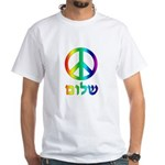 Shalom - Peace Sign White T-Shirt