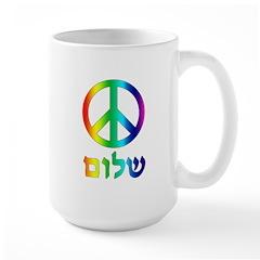 Shalom - Peace Sign Large Mug