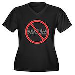 No Racism Women's Plus Size V-Neck Dark T-Shirt