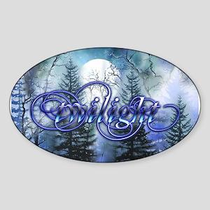 Moonlight Twilight Forest Oval Sticker