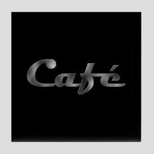 Metallic Cafe on Black Coffee Tile Coaster