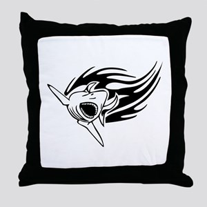 Shark with flames Throw Pillow