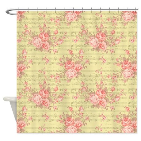 Pink Roses and Music Shower Curtain