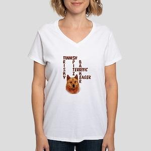 Finnish Spitz crossword Women's V-Neck T-Shirt