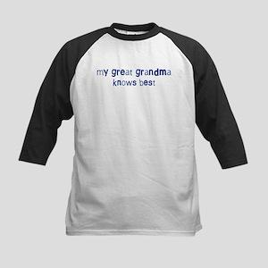 Great Grandma knows best Kids Baseball Jersey
