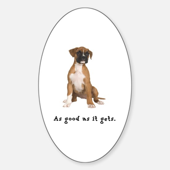 Good Boxer Puppy Oval Decal