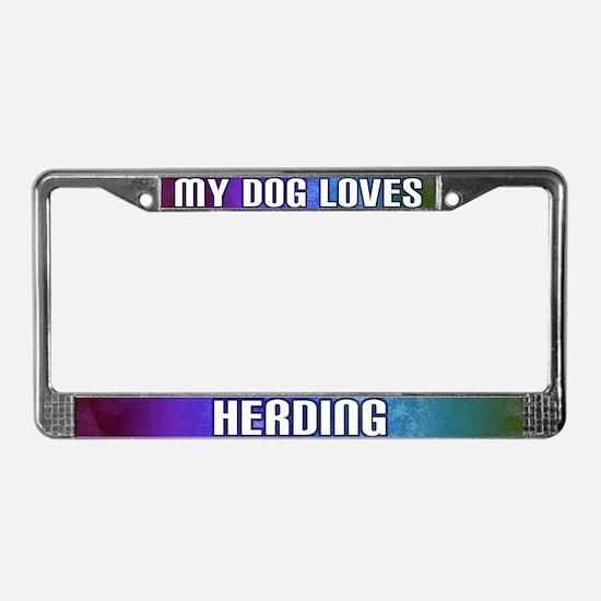 My Dog Loves Herding License Plate Frame (Rainbow)