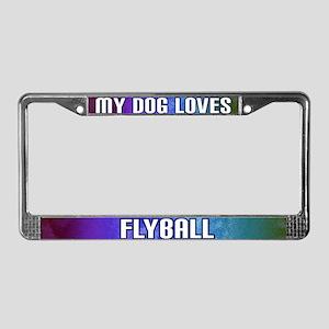 My Dog Loves Flyball License Plate Frame (Rainbow)