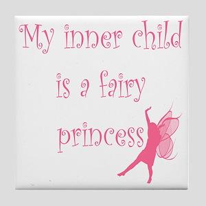 Pink Silhouette Fairy Princess Tile Coaster