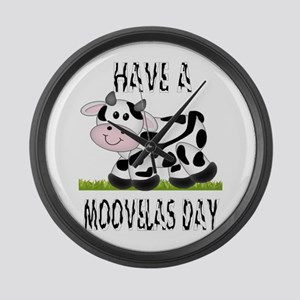 Cute Cow Moovalas day Large Wall Clock