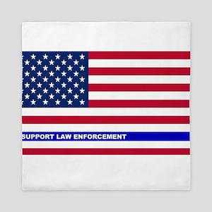 I support Law Enforcement American Fla Queen Duvet