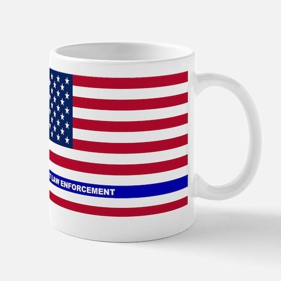I support Law Enforcement American Flag Mug