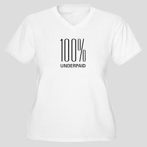 100% Underpaid Women's Plus Size V-Neck T-Shirt