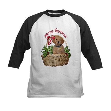 puppy in holly basket Kids Baseball Jersey