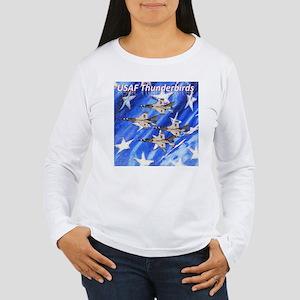 Thunderbirds, Flag Women's Long Sleeve T-Shirt