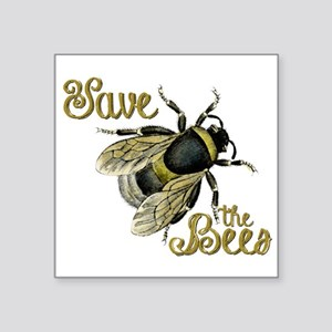 """Save Bees Square Sticker 3"""" x 3"""""""