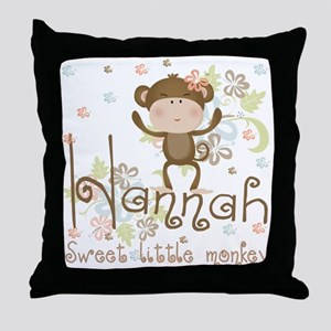 Adorable Hannah Monkey Throw Pillow