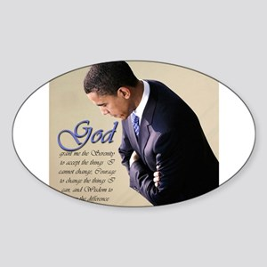 Obama Praying Oval Sticker