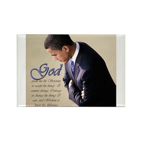 Obama Praying Rectangle Magnet