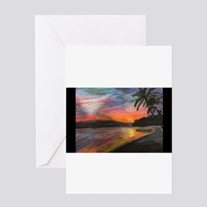 Paradise Sunset Greeting Cards