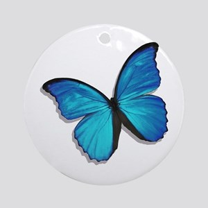 Blue Morpho Butterfly Ornament (Round)